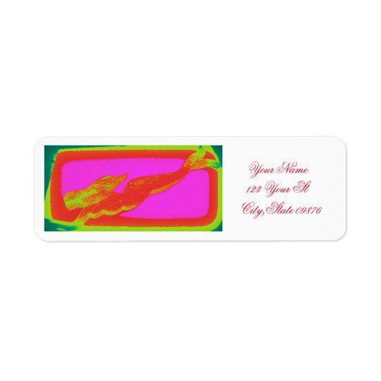 Etiqueta sereia vermelha da natação
