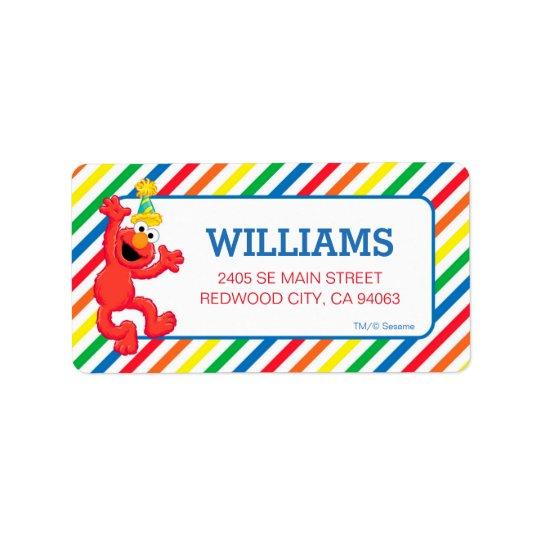 Etiqueta Sesame Street   Elmo - aniversário do arco-íris