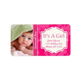 Etiqueta Seu bebê novo da foto seu um vintage do ROSA da