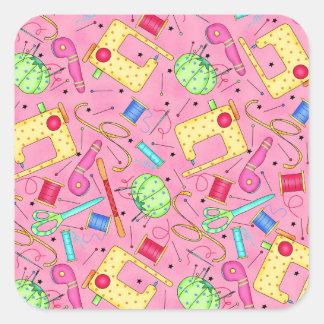 Etiqueta Sewing cor-de-rosa das noções Adesivo Quadrado