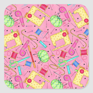 Etiqueta Sewing cor-de-rosa das noções Adesivo Em Forma Quadrada