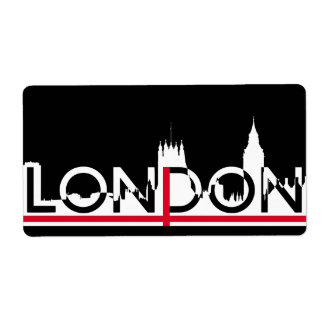 Etiqueta Silhueta de Londres e bandeira inglesa