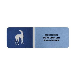 Etiqueta Silhueta elegante do galgo no costume azul