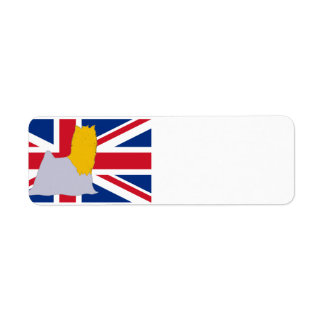 Etiqueta silo do yorkie no azul e no ouro da bandeira
