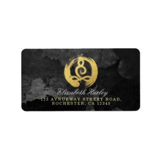 Etiqueta Símbolo do zen da postura da meditação do ouro do