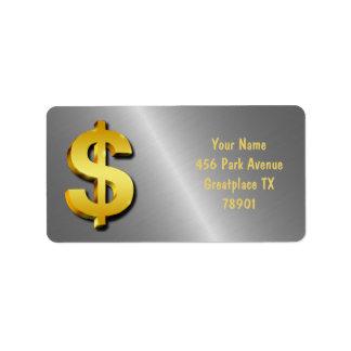 Etiqueta Símbolo Sparkling do dinheiro do sinal do dólar