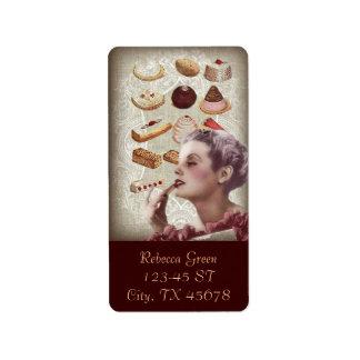 Etiqueta sobremesas francesas da pastelaria do cupcake da