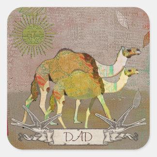 Etiqueta sonhadora do pai dos camelos adesivo em forma quadrada