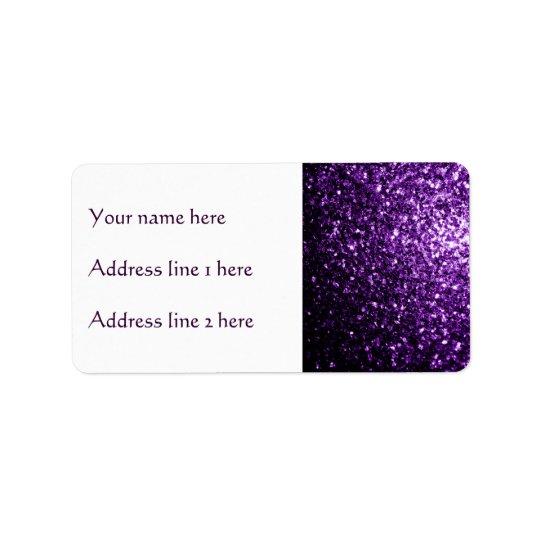 Etiqueta Sparkles roxos escuros bonitos do brilho