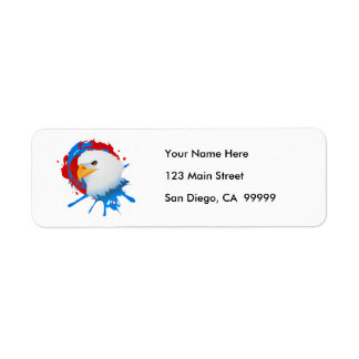 Etiqueta Spatter branco da águia americana americana & azul