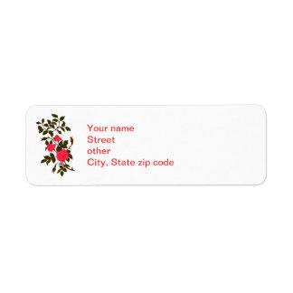 Etiqueta Sprig de rosas cor-de-rosa