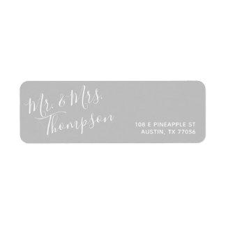 Etiqueta Sr. & Sra. endereço do remetente | cinzento