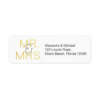 Etiqueta Sr. & Sra. Ouro Elegante Tipografia Casamento