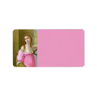 Etiqueta St. cor-de-rosa Agatha (M 003)