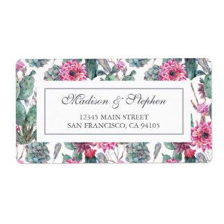 Etiqueta Succulent & floral boémios - casamento