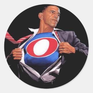 Etiqueta super de Obama Adesivos Em Formato Redondos