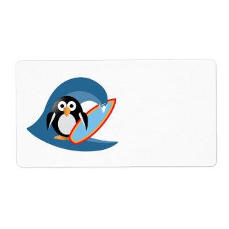 Etiqueta Surfista do pinguim