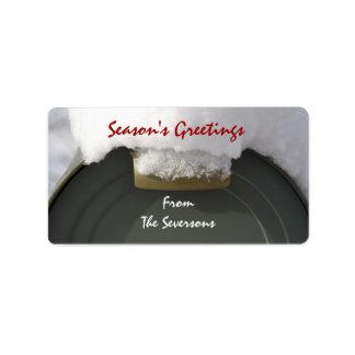 Etiqueta Tag cobertos de neve do presente do Natal da caixa