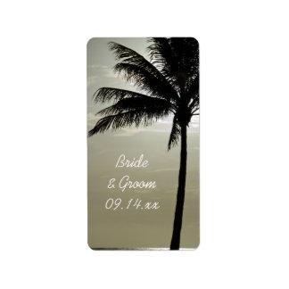Etiqueta Tag do favor do casamento de praia da silhueta da