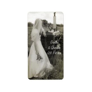 Etiqueta Tag do favor do casamento do país da noiva e do