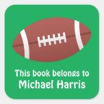 Etiqueta/Tag do livro do bookplate do futebol para Adesivos Quadrados