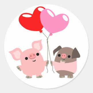 Etiqueta Tangled dos corações (porcos dos desenhos Adesivos Em Formato Redondos