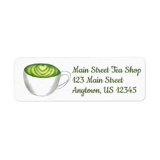 Etiqueta Teacup Foodie de Latte do chá verde de Matcha do