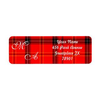 Etiqueta Tecido vermelho escocês da xadrez de Tartan com