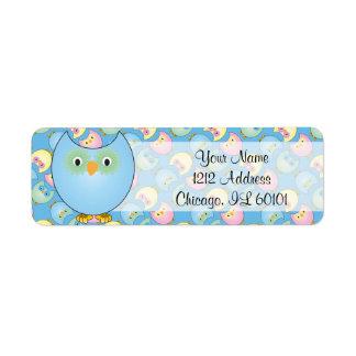 Etiqueta Tema azul Pastel do chá de fraldas da coruja
