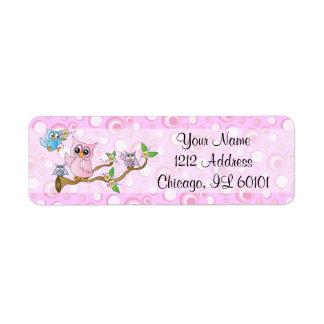 Etiqueta Tema cor-de-rosa do chá da coruja | do bebê