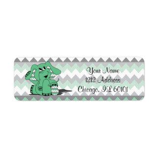 Etiqueta Tema verde e cinzento do chá do elefante | de