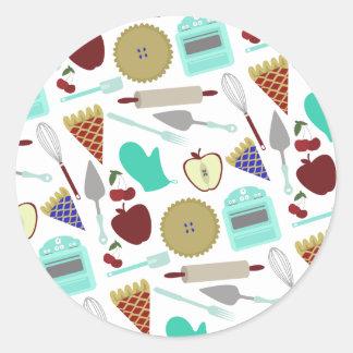 Etiqueta temático do teste padrão da torta adesivos em formato redondos