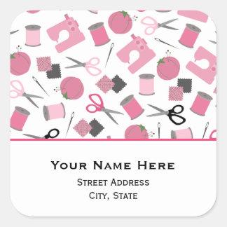 Etiqueta temático Sewing do endereço Adesivo Quadrado