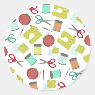 Etiqueta temático Sewing retro do selo do envelope Adesivos Em Formato Redondos