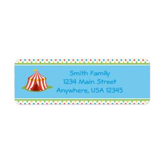 Etiqueta Tenda do circus | do tema | do circo personalizado