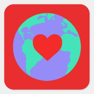 Etiqueta - terra com um coração adesivo quadrado