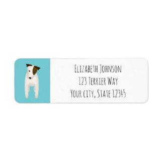 Etiqueta terrier de russell do jaque com inclinação