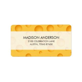 Etiqueta Teste padrão amarelo do queijo