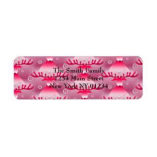Etiqueta Teste padrão cor-de-rosa lunático da rena do Natal