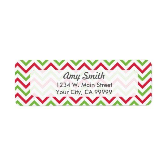 Etiqueta Teste padrão de Chevron do Natal vermelho e verde