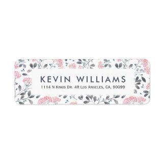 Etiqueta Teste padrão de flores cor-de-rosa da aguarela