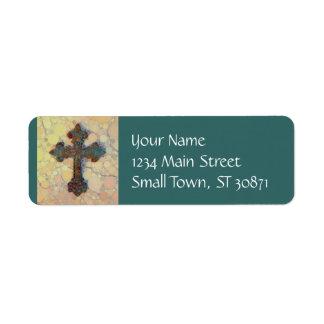 Etiqueta Teste padrão de mosaico transversal cristão legal