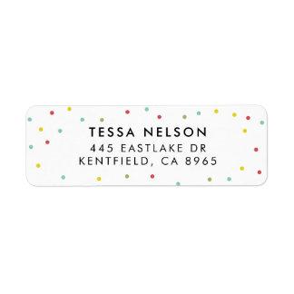 Etiqueta Teste padrão de pontos colorido dos confetes