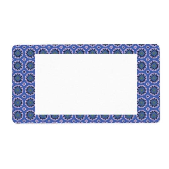 Etiqueta Teste padrão floral azul bonito