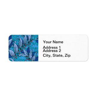 Etiqueta Teste padrão floral azul brilhante