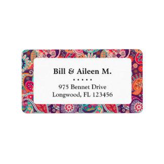 Etiqueta Teste padrão floral de néon cor-de-rosa de Paisley