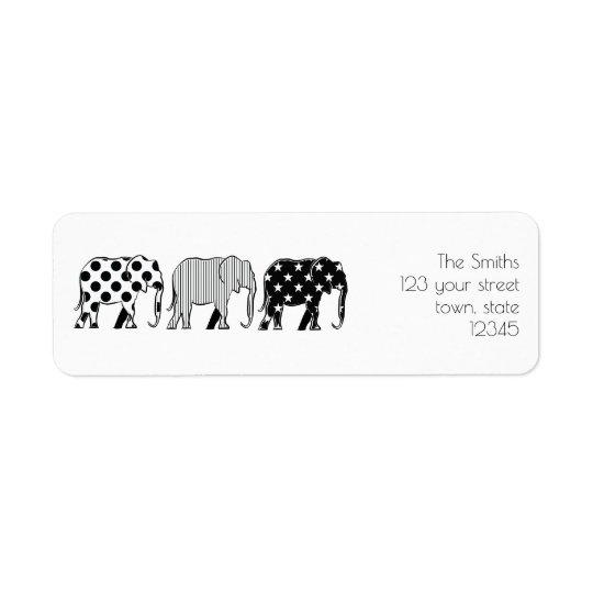 Etiqueta Teste padrão legal do preto dos elefantes dos