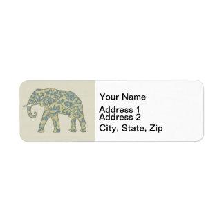 Etiqueta Teste padrão na moda do elefante do decorador