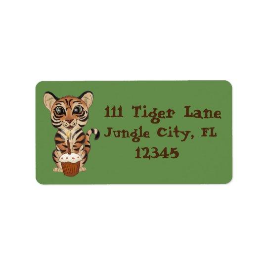 Etiqueta Tigre do aniversário