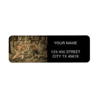 Etiqueta Tigre selvagem majestoso dos animais selvagens da